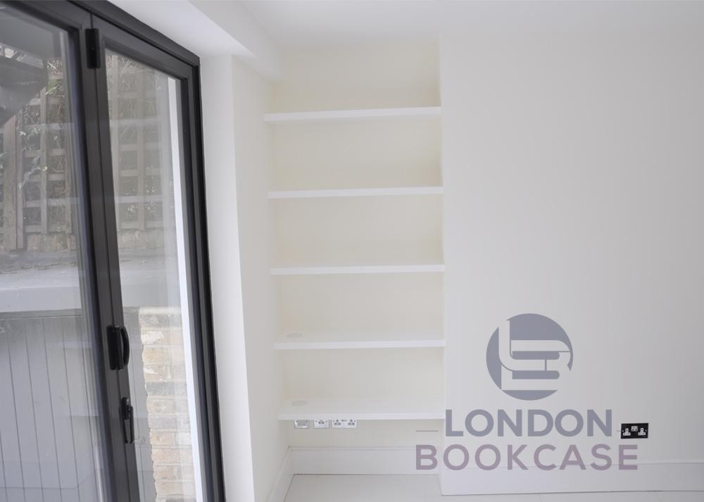 alcove floating bookshelves