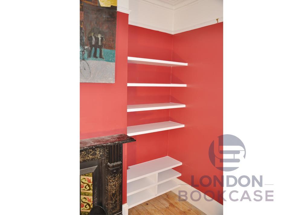 bespoke alcove shelves and media storage