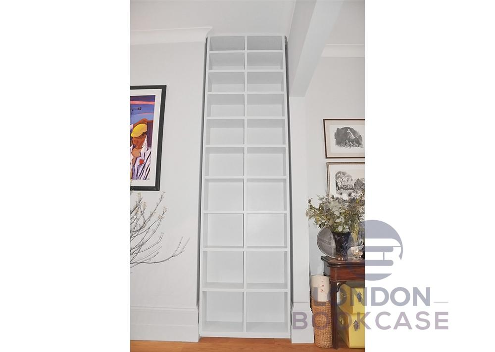 built in shelving unit front