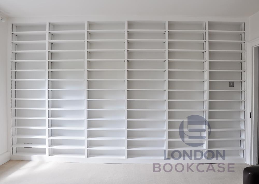 built-in white bookshelves front