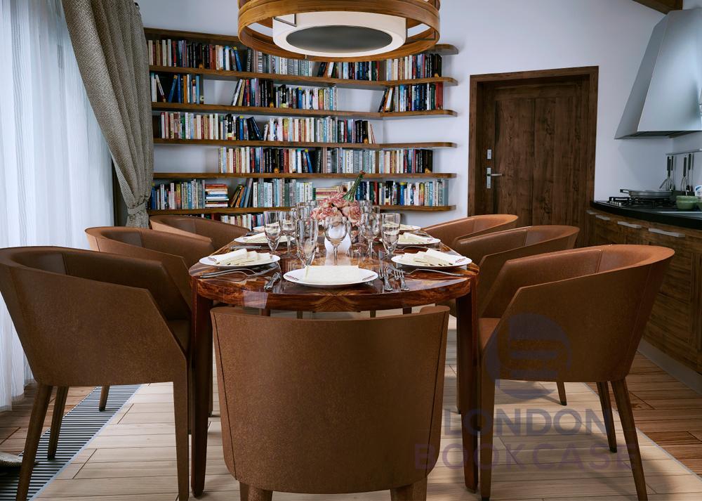 corner wood bookshelves