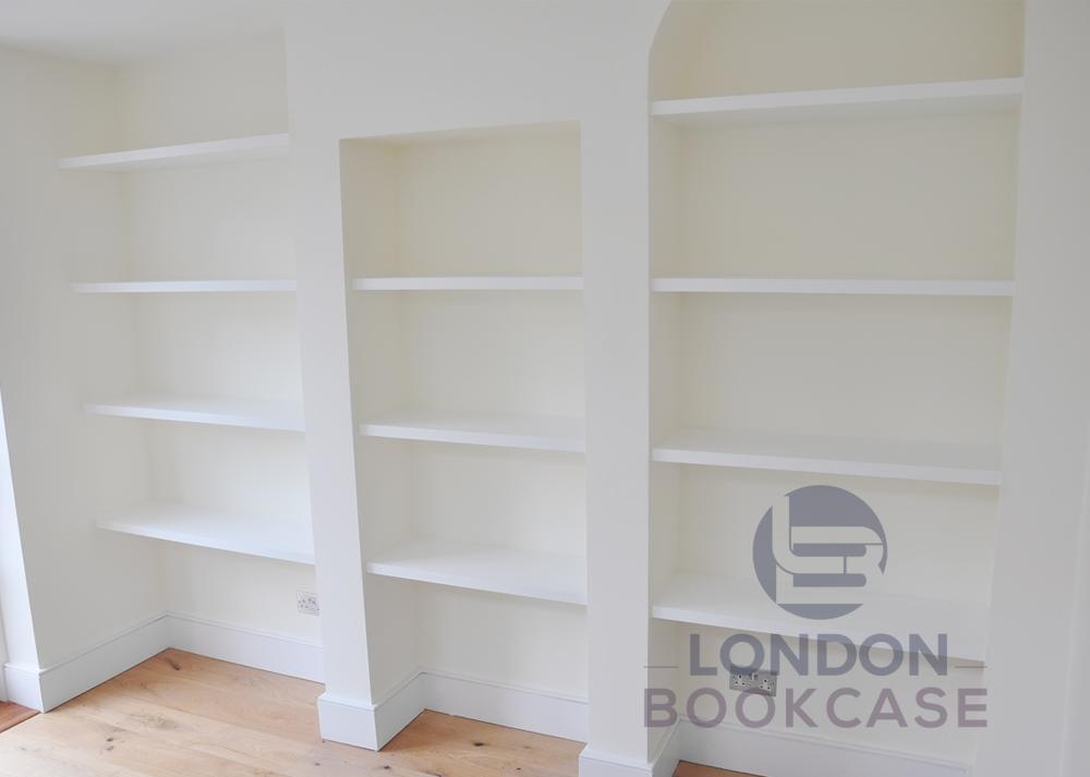 custom made fitted alcove shelves