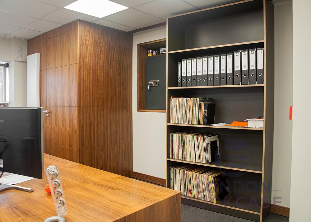 custom made office sliding bookcase with safe