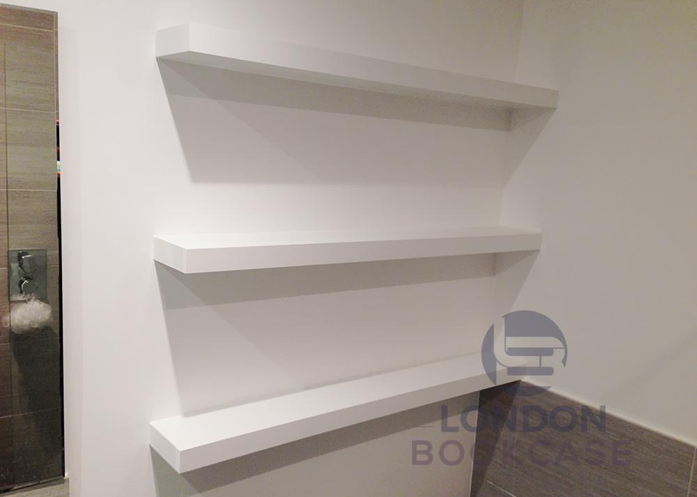 bespoke made bathroom floating shelves