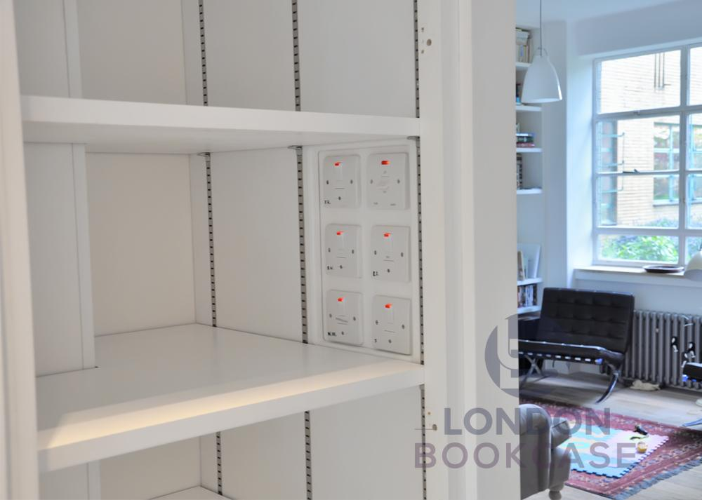 adjustable shelves in the cupboard