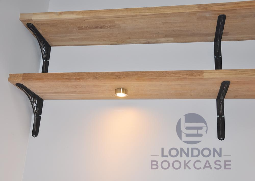 wooden kitchen shelves with built-in light