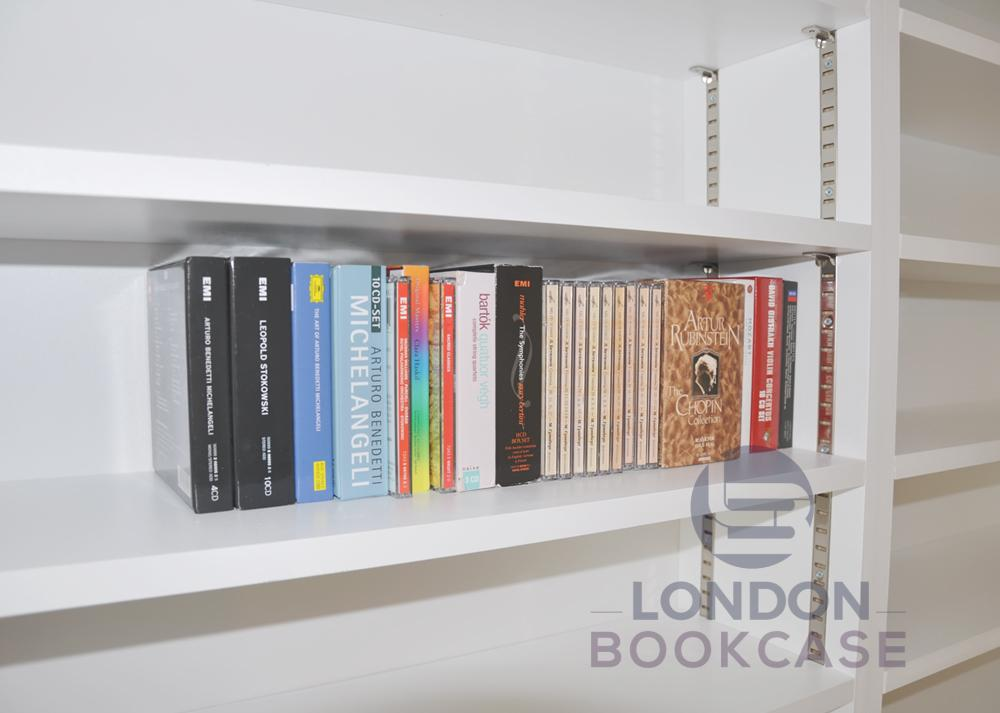 long white bookshelf