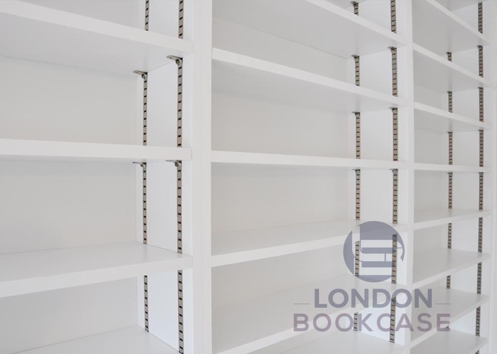 long white bookshelves