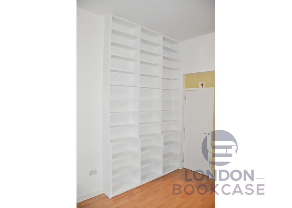 built-in white shelves
