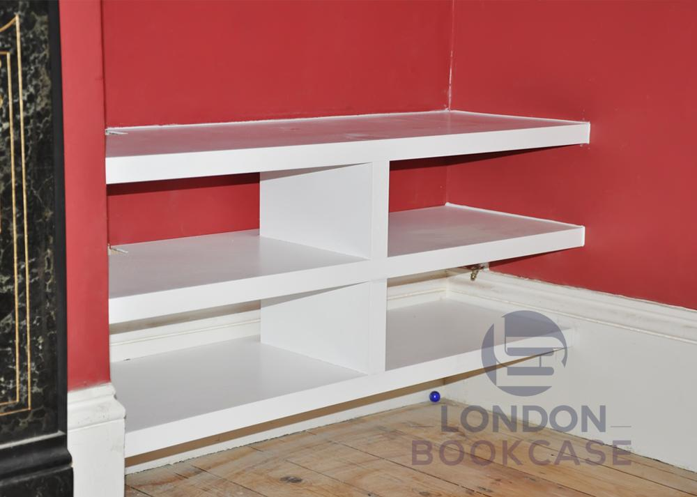 Media display unit shelves