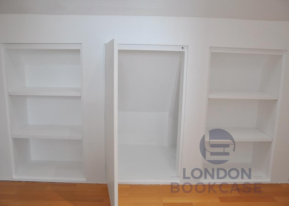 storage cupboard and shelves push to open door