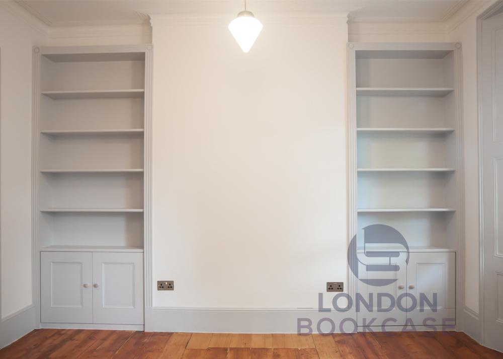 fitted alcove bookcases front