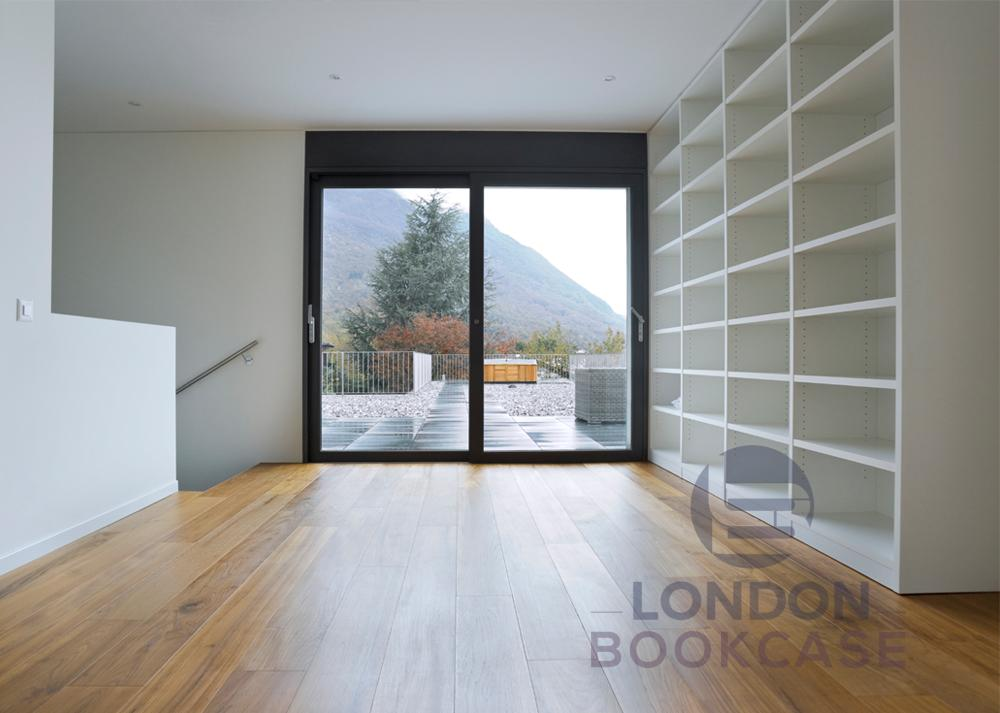 white wall bookshelves