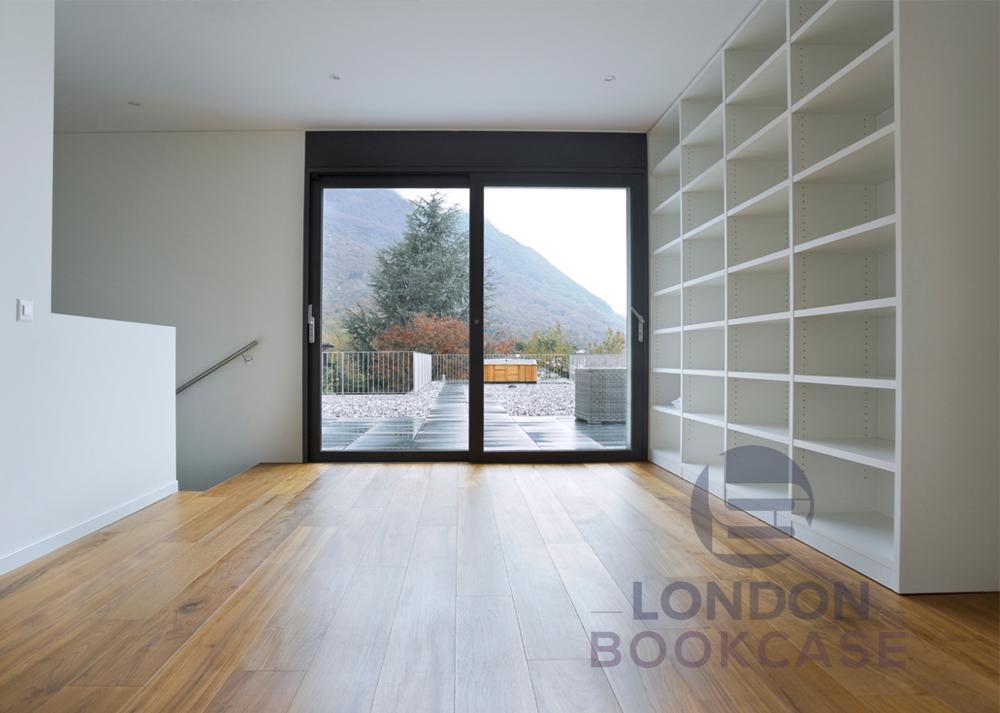 white wall bookshelves