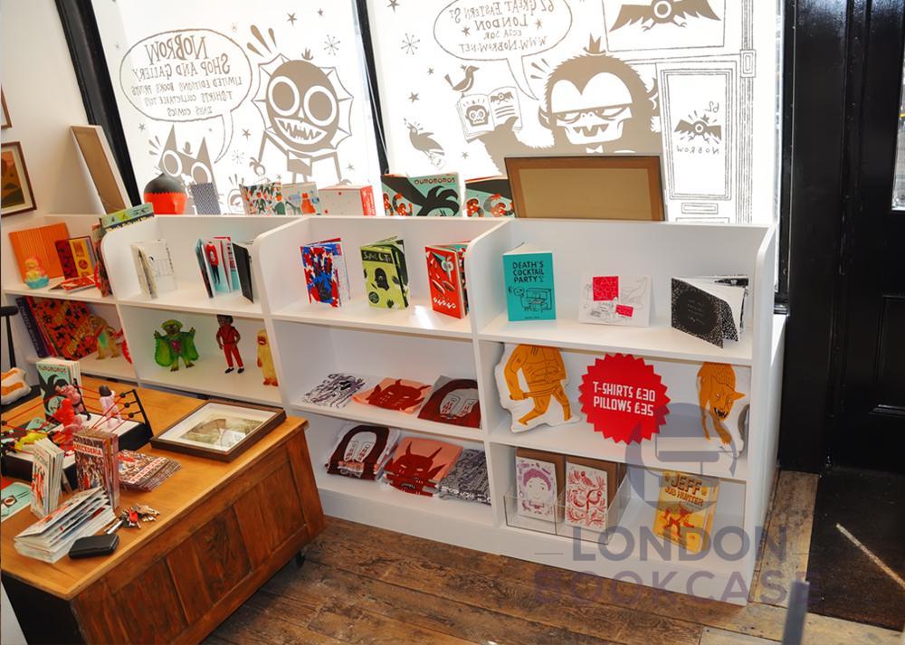 white shop book display units