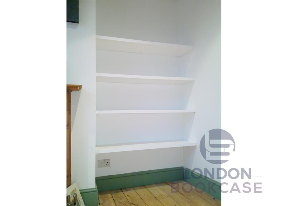 white shelves for alcove front view