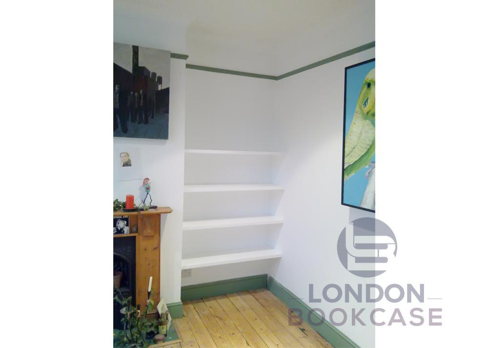 white shelves for alcove