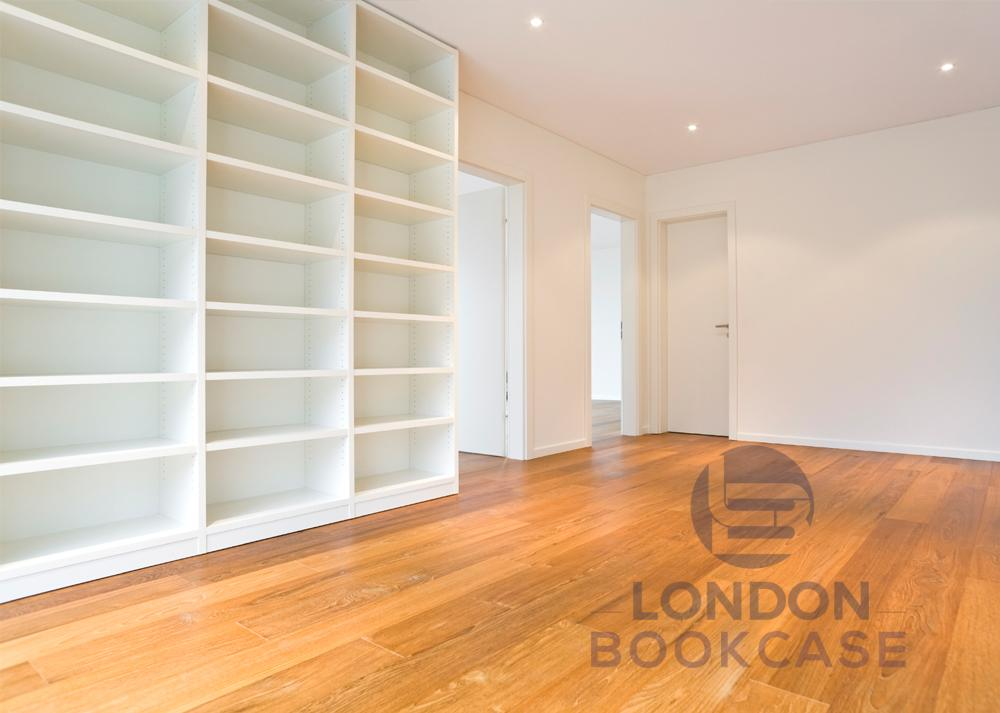 built-in white bookcase