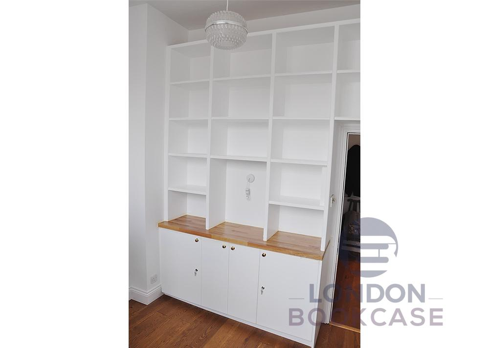 white lockable storage cupboard